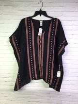 Forever 21 Womens Size S Black Peach Aztec Baja Style Pullover Poncho Wo... - $18.55