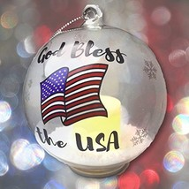 Patriotic Christmas Ornament  Glass Ball Ornament with God Bless the USA... - $17.17 CAD