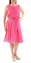 Tommy Hilfiger Womens Sz 14 Pink Striped Pleated Sheath Dress 2103-3 - $23.14