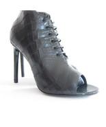 P-462139 New Saint Laurent Black Lace Up Open Toe Heels Size US 7.5 37.5 - $293.95