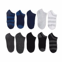 Walmart Brand Boys No Show Socks Rugby Stripes 10 Pair Large Shoe Size 4-10 - $9.90
