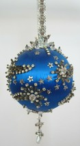 Vintage Handmade CRACKER BOX Push Pin Christmas Ornament Blue Stars Rhin... - $44.95