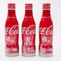 2 Yokohama & Tokyo Coca Cola Aluminum Full bottle 3 250ml Japan Limited - $38.61