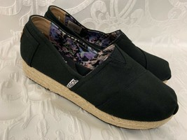 BOBS from SKECHERS Black Canvas Shoes Espadrille Heel Memory Foam Arch Support 8 - $35.99
