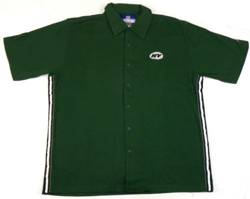 Men's Large New York Jets Button-down Camp Shirt NFL On Field Apparel Reebok NEW