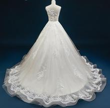 Court Train A-Line Applique Beaded Sheer Lace Tulle Wedding Gown image 4