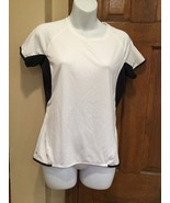 EUC Womens REEBOK Athletic Work Out Shirt White with black Round Neck  M - $15.44