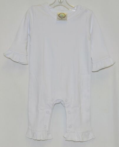 Blanks Boutique White Long Sleeve Snap Up Ruffle Romper Size 6M