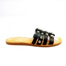 Marc Fisher Womans Pava Silver Studded Black Leather Slide Sandal Sz 6 M - $39.59