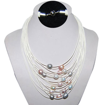 16-24 inches 15 Rows White Leather Natural Pearl Necklace with Magnetic ... - $15.00