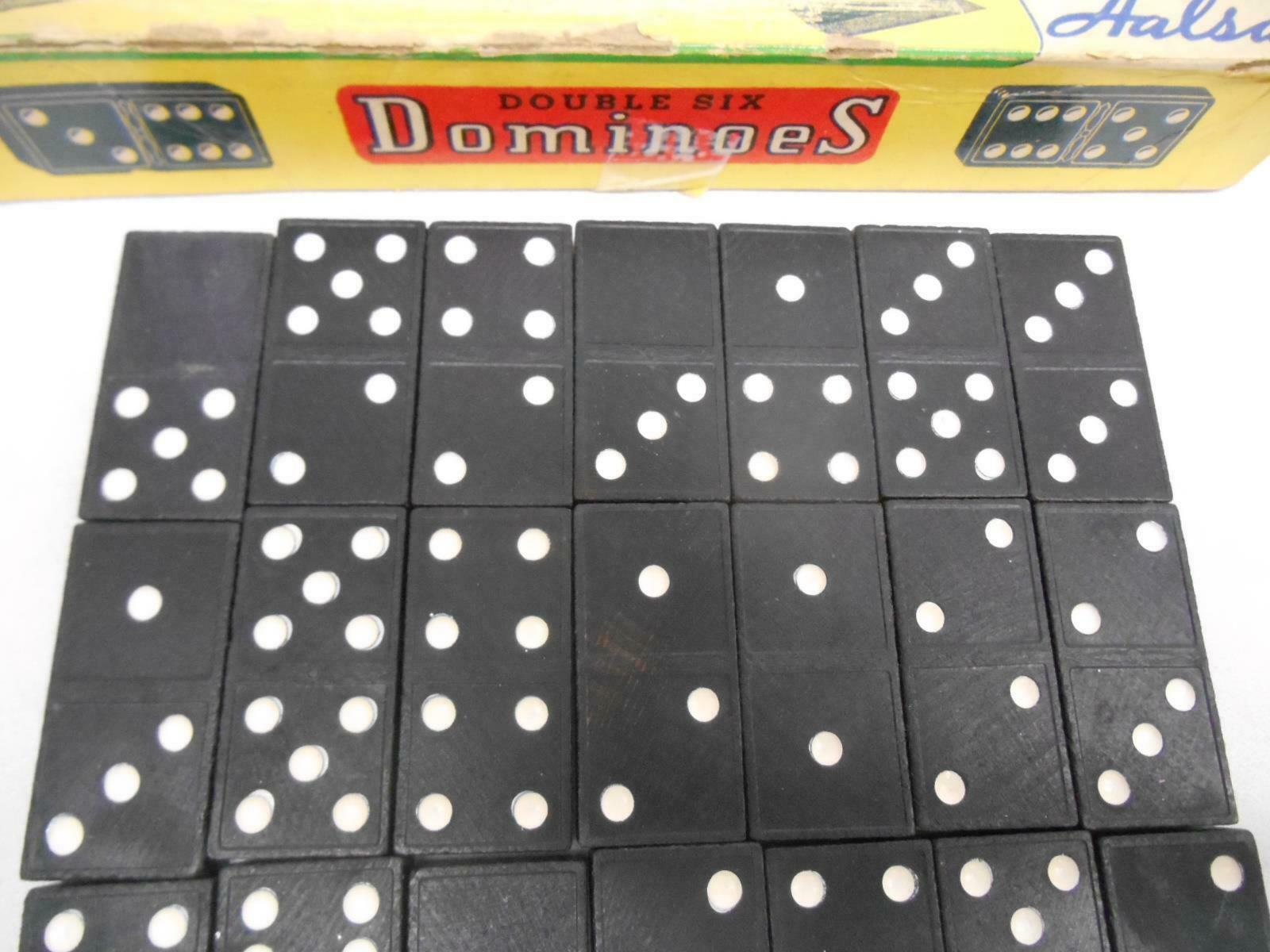 Old Vintage HALSAM DOUBLE SIX DOMINOES #623-W 28 Tiles Classic Game COMPLETE