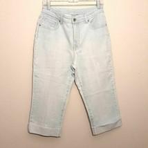 CHICO'S PLATINUM 1 womens jeans blue high rise waist stretch denim capri... - $14.24
