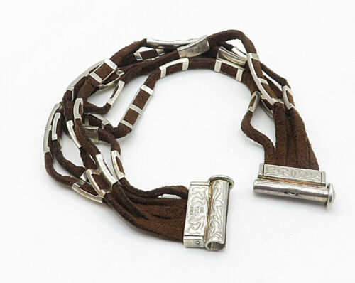 WHITNEY KELLY 925 Silver - Vintage Suede Engraved Detail Chain Bracelet - B4202 image 2