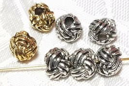 3pcs.Knotted Design Round Fine Pewter Beads - 6x7x7mm; Hole 2mm