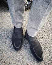 Handmade Men's Black Suede Slip Ons Loafer Stylish Shoes image 1