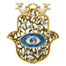Crystal Evil Eye Hamsa Wall Hanging Home Decor Blue Enamel Ornament Gift... - $18.44