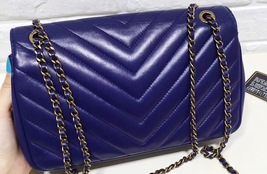 100% Authentic Chanel Royal Blue Lambskin Chevron Quilted Pyramid CC Flap Bag image 10