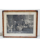 Antique 1886  Abraham Lincoln and His Family Engraving Waugh Sartain Fra... - $314.99