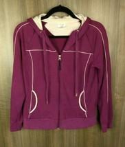 Danskin Now Sweatshirt Women's Dark Purple Hooded Jacket Size M (8-10) W... - $18.99