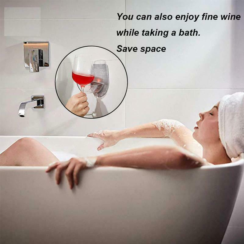 Bathtub Wine Glass Holder Portable Plastic Red Wine Bathroom Kitchen Household image 4