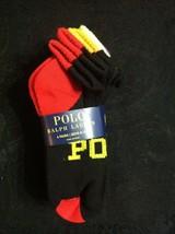 POLO RALPH LAUREN BOYS NEW BLACK 97%POLYESTER 6 PACK CASUAL SOCKS SHOE S... - $24.40