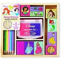 Melissa & Doug Disney Princess Wooden Stamp Set: 9 Stamps, 5 Colored Pen... - $28.71