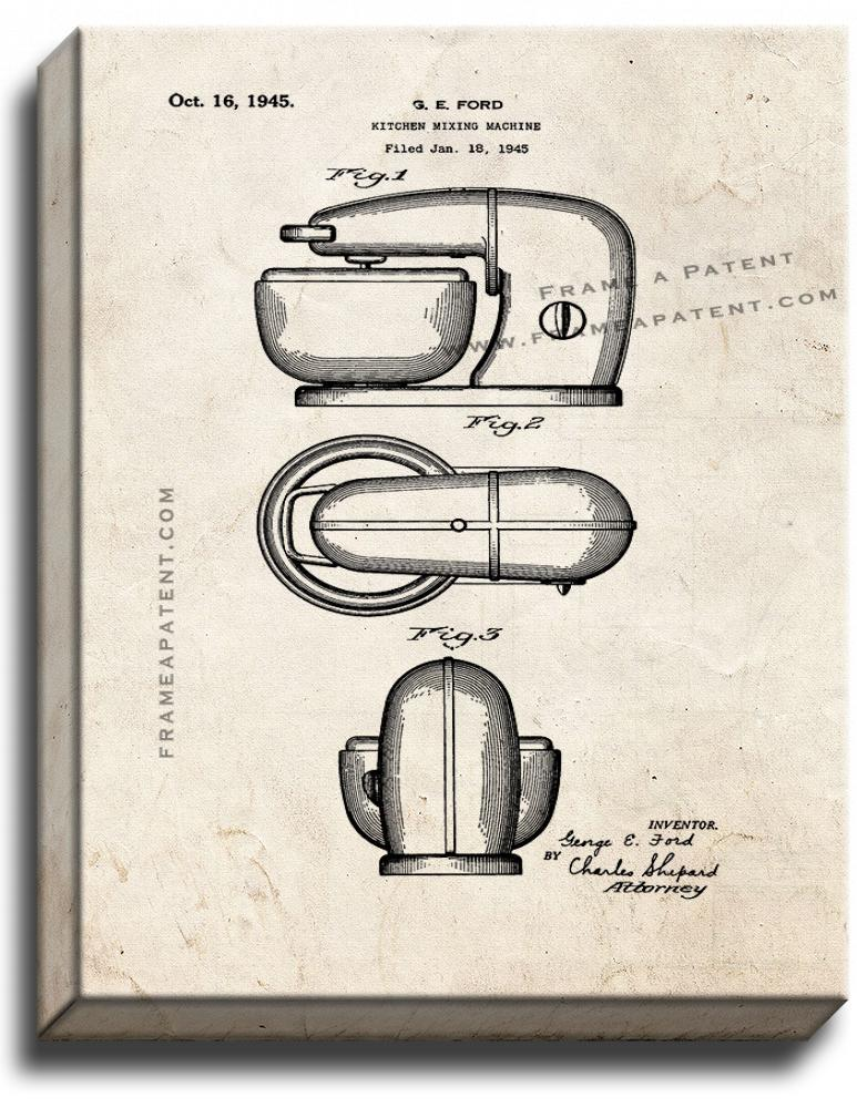 Primary image for Kitchen Mixing Machine Patent Print Old Look on Canvas