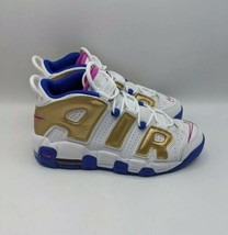 Nike Air More Uptempo GS Shoes 7Y Women's 8.5 415082-106 White Fuchsia G... - $101.54