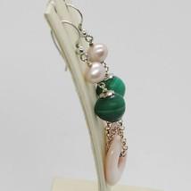 Ohrringe aus Silber 925 Rhodiniert Anhänger Perle Fischen Malachit und Perlmutt image 2