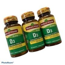 Nature Made Vitamin D3 25mcg 1000 IU 100 Softgels 3 Bottles Exp 06/22  - $13.69