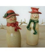 Vintage 1980s Snowmen His and Her Figures 9'' Tall Wire Arms Christmas H... - $69.25