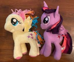 "2 My Little Pony 11"" Fluttershy & Twilight Sparkle Plush Toy Glitter Wings 2016 - $14.01"
