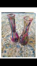 "set of 2 Multicolored Glass Bud Vase 9"" - $44.99"
