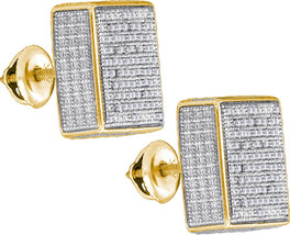 Sterling Silver Womens Round Pave-set Diamond 3D Square Cluster Earrings 1/2 - $179.78