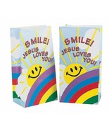"""Smile! Jesus Loves You Paper Treat Bags (12 Pack) 5"""" x 3 1/4"""" x 10"""" - $7.59"""