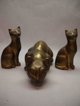 VINTAGE Brass CAT Figurines 2 Small MATCHING Sitting UP 1 LARGE Laying Down - $59.39