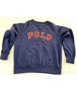 Vintage Polo Ralph Lauren Sweatshirt Crew 90's USA 1990's Spell Out Blue - $30.39