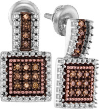 Sterling Silver Round Brown Diamond Square Cluster Earrings 1/5 Cttw - $89.00