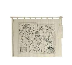 [World Map] 57'' Wide Handmade Curtain/Bag/Bedding Linen Fabric (2557 Inch)