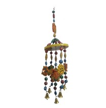 Indian Wooden Wind chimes handmade vintage art diwali natural wood home ... - $15.84