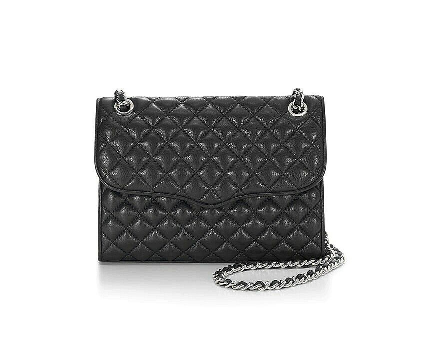 Primary image for NWT Rebecca Minkoff Quilted AFFAIR Leather Shoulder Bag BLACK Silver AUTHENTIC