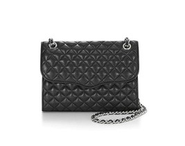 NWT Rebecca Minkoff Quilted AFFAIR Leather Shoulder Bag BLACK Silver AUT... - $279.90