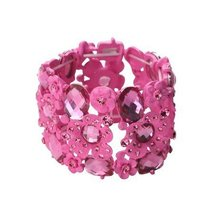 Inspired Silver Fuchsia Pave Cubic Zirconia Pink Stones Spring Stretch B... - $24.45