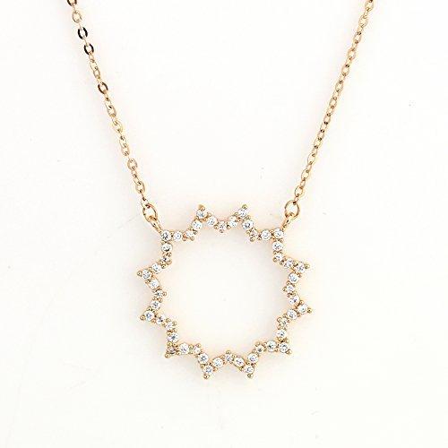 UE- Rose Tone Designer Sun Burst Pendant Necklace With Swarovski Style Crystals image 2