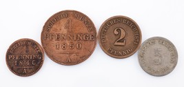 Lot of 4 German States Prussia Coins: 1846 - 1874 1 - 5 Pf Fine to Very ... - $44.54