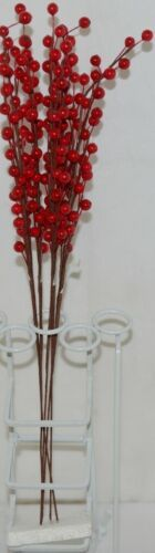 Unbranded Red Holly Berry Stems 16 Inches Set Of Five Decoratations