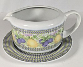 Vintage Oneida Gravy Soup Sauce Boat with Liner Plate Pears Grapes Paste... - $20.55