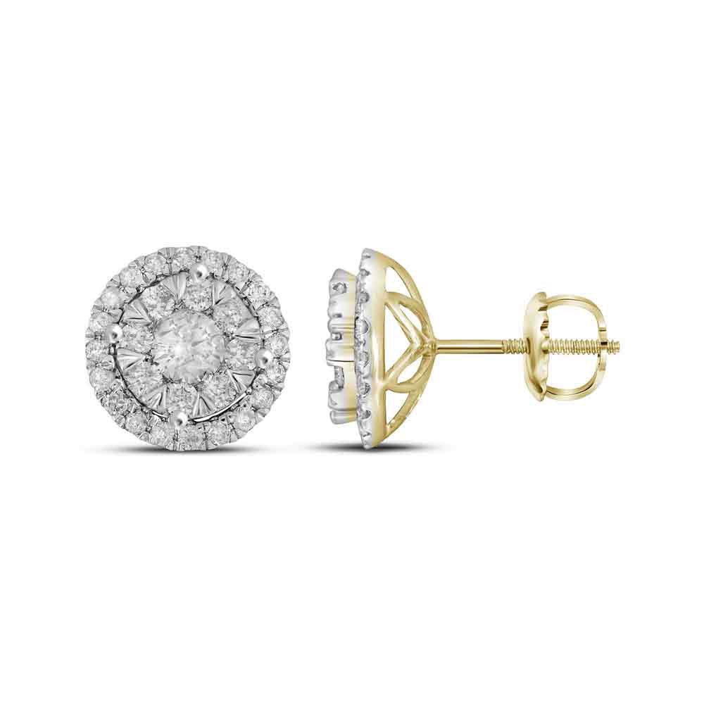 Concentric Circle Earrings: 14k Yellow Gold Round Diamond Concentric Circle Frame