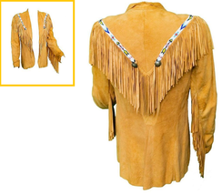 New Men's Tan Western / Native American Suede Leather Beads Coat Fringes... - $157.88+
