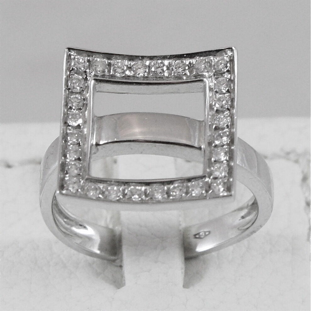 18K 750 WHITE GOLD RING WITH DIAMONDS, MADE IN ITALY, SQUARE BAND
